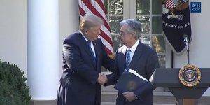 Donald Trump et Jerome Powell nouveau président de la Fed