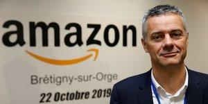 Frédéric Duval, Directeur général d'Amazon France, lors d'une visite de presse au centre de distribution de Brétigny-sur-Orge