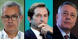 Jean-Pierre Clamadieu, prEsident d& 39 Engie  A g. , Bertrand Camus, directeur gEnEral de Suez  au centre  et Antoine FrErot, PDG de Veolia