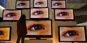 télévision, écran, oeil, yeux, TV
